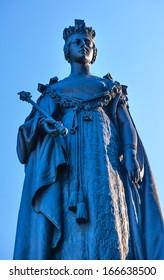 Queen Victoria Statue Front of Provincial Capital Legislative Parliament Building  Victoria British Columbia Canada.