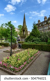 Queen Victoria statue in the town centre of Harrogate, Yorkshire, England.
