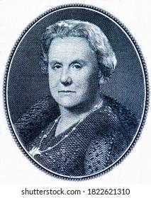 Queen Wilhelmina. Portrait from Netherlands Indies 1 Gulden Roepiah 1943 Banknotes.