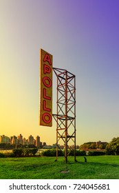 QUEENS, ASTORIA, NY / USA - 8/26/2017: Apollo Sign sculpture by Nari Ward in Socrates Sculpture Park.
