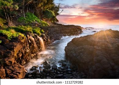 Queen's Bath at sunset, Kauai, Hawaii