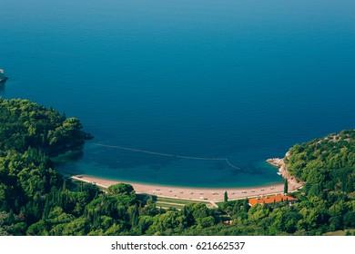 Queen's Beach in the territory of the park Milocer, near the villa, in Montenegro, the Adriatic.