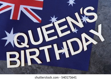 Queen's Birthday signage on a flag of Australia