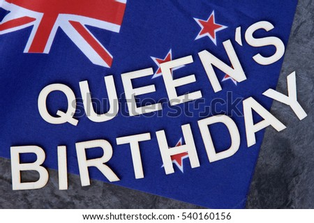 queens birthday signage on new zealand stock photo edit now