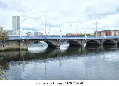Queens bridge over the river Lagan in Belfast