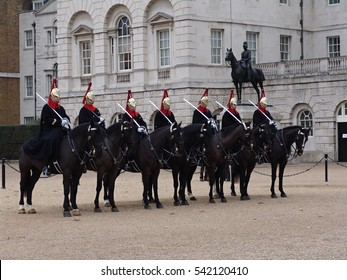Queen's Guard March on Horses in the Streets of London, United Kingdom