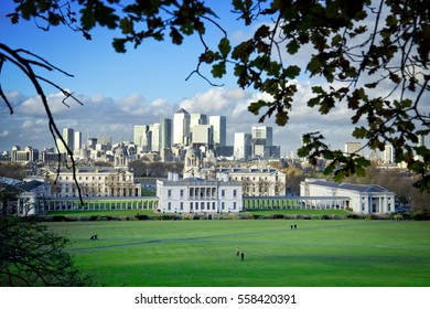 The Queen's House and Greenwich Park in London, England. It is a former royal residence built between 1616â??1635 in Greenwich, then a few miles down-river from London and now a district of the city.