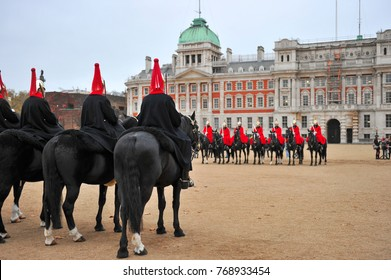 The Queen's Life Guard participate in the parade in Buckingham Palace London