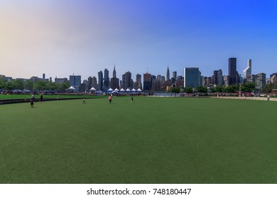 QUEENS, LONG ISLAND CITY, NY (8/26/2017) - View of Manhattan from Hunter's Point South Park.