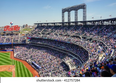 Queens, New York - 3 May 2015: Citi Field stadium located in Flushing Meadows Corona Park and home of the New York Mets.