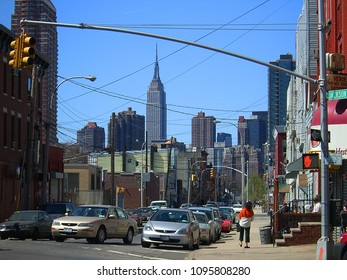 QUEENS, NEW YORK – APRIL 2: A view of Jackson Avenue and distant Manhattan skyscrapers on April 2, 2006 in Queens, New York. Jackson Avenue was named for John C. Jackson (1809-1899).