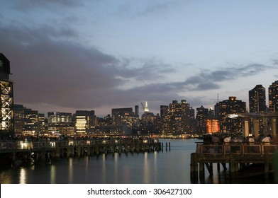 QUEENS, NEW YORK - JULY 4: View of Manhattan as seen from  Gantry Plaza State Park in Long Island City.   Taken July 4, 2015 in Queens, NY.
