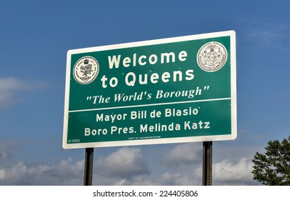 QUEENS, NEW YORK - SEPTEMBER 20, 2014: Welcome to Queens Sign for traffic between the border of Brooklyn and Queens, New York