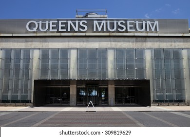 Queens, New York, USA- July 11, 2015: Front entrance of the Queens Art Museum in Fushing Meadows Corona Park, Queens, New York on July 11, 2015