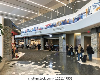 QUEENS, NEW YORK-DECEMBER 9, 2018: Interior of the new terminal at LaGuardia Airport.  The airport is undergoing a multi-billion dollar investment.