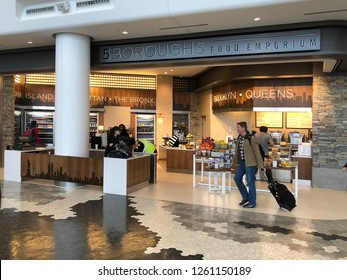 QUEENS, NEW YORK-DECEMBER 9, 2018: Food court at the new terminal at LaGuardia Airport.  The airport is undergoing a multi-billion dollar investment.