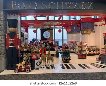 QUEENS, NEW YORK-DECEMBER 9, 2018: FAO Schwartz outlet at the new terminal at LaGuardia Airport.  The airport is undergoing a multi-billion dollar investment.