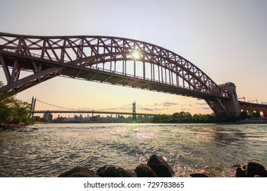 QUEENS, NY (August 26, 2017) - Hell Gate Bridge in the front with the Triborough Bridge in the back.