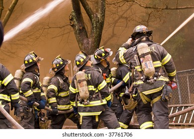 QUEENS,  NY - FEBRUARY 12: Firemen on duty on February 12, 2009 in Queens, New York.