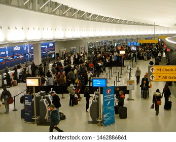 Queens, NY - February 7 2013: The JetBlue check-in counter at John F. Kennedy Airport Terminal 5