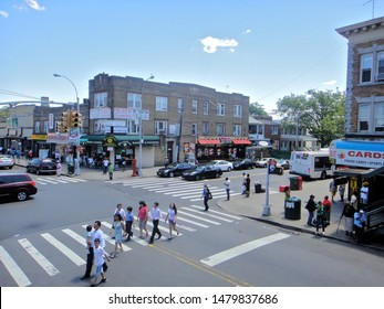 Queens, NY - July 20 2012: Aerial view of the intersection of Liberty Avenue and Lefferts Boulevard in Richmond Hill