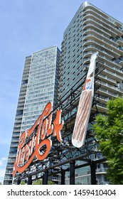 QUEENS, NY - MAY 26: The Pepsi-Cola sign at Gantry Plaza State Park in Long Island City in Queens, New York, on May 26, 2019. It has resided there since 1936 and was designated a Landmark in 2016.