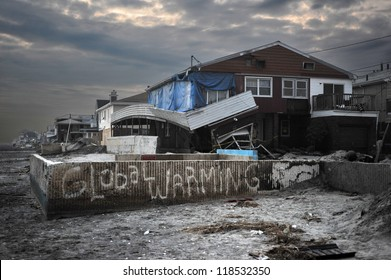 QUEENS, NY - NOVEMBER 11: Damaged houses without power at night in the Rockaway due to impact from Hurricane Sandy in Queens, New York, U.S., on November 11, 2012.