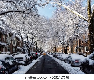 QUEENS, NY / USA - 03/22/2018: Neighborhood covered in snow the morning after snowstorm Toby.