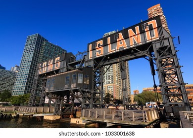 Queens, NY / USA - October 1, 2017: View of Long Island sign by East River in Queens, NY.