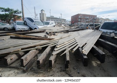QUEENS, NY/USA - NOVEMBER 1: A section of Rockaway Beach boardwalk landed well inland after being pushed ashore by hurricane Sandy in Queens on Nov 1, 2012.