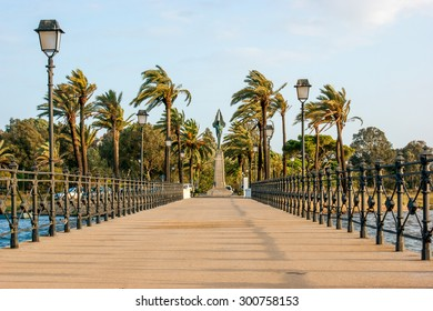 Queen's pier and the monument to the Plus Ultra, name of the hydroplane that made for the first time in history the trip between Europe and America, in Palos de la Frontera, close to La Rabida, Huelva