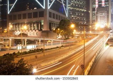 Queen's Road Central winding its way through the central business district of Hong Kong