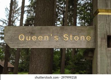 """Queen's Stone"" Sign in Eggesford Forest, Devon,England,UK"
