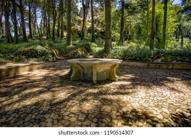 Queen's table in Pena Park, Sintra Lisabon
