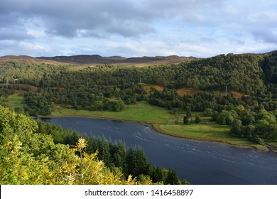 Queen's View looking out over Loch Tummel surrounded by Tay Forest Park in early autumn, Pitlochry, Perthshire, Scotland