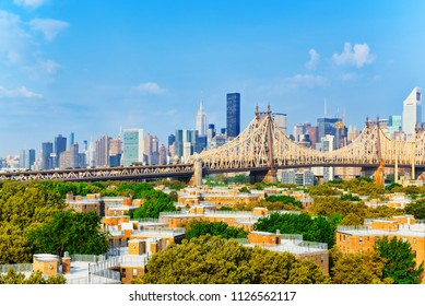 Queensboro Bridge across the East River between the Upper East Side Manhattan and Queens district in  New York, USA.