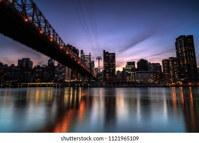 Queensboro bridge with tram view at night