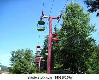 Queensbury, New York 6/24/2010: Empty magic carpet chair lift gondola ride at the great escape / storytown amusement park.