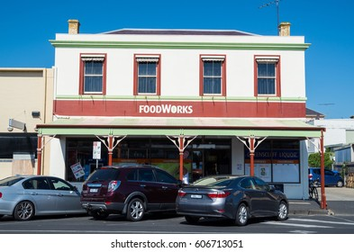 Queenscliff, Australia - March 12, 2017: Foodworks is an Australian chain of 400 independent retail supermarkets. This store is in Queenscliff on the Bellarine Peninsula.
