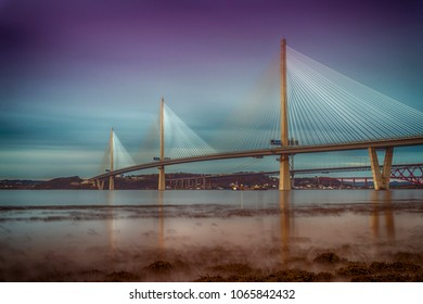 The Queensferry Crossing taken from the shore of the River Forth, more or less on the border between Edinburgh and West Lothian.