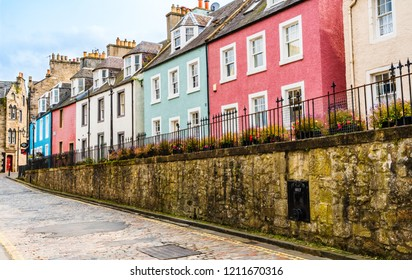 Queensferry, Edinburgh, Scotland - August 2018: Colorful houses on the East Terrace on High Street.