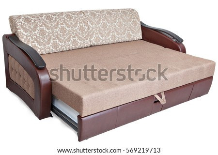 Queensize Pull Out Sofabed Light Brown Stock Photo Edit Now