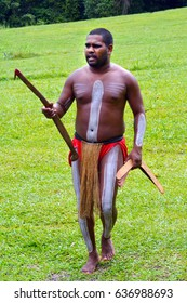QUEENSLAND, AUS - APR 17 2016: Yirrganydji Aboriginal warrior man carry boomerangs in Queensland, Australia.