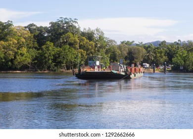 Queensland, Australia – February 27, 2015: A vehicle ferry crossing the Daintree River in Tropical North Queensland, Australia.