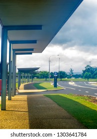 Queensland, Australia – March 19, 2015: Cloudy weather and landscape viewed from the covered area outside The Dental School at James Cook University in Smithfield, Queensland, Australia