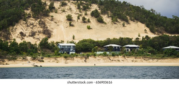 QUEENSLAND, AUSTRALIA - MARCH 23, 2017: View of Tangalooma Island Resort in Moreton Island, Queensland, Australia