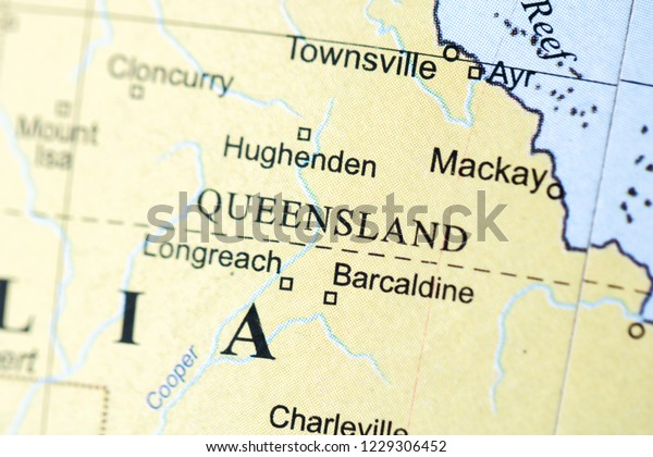 Map Queensland Australia.Queensland Australia On Geography Map Stock Photo Edit Now 1229306452
