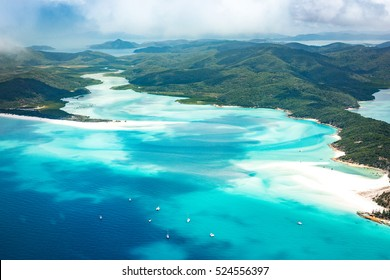 Queensland, Australia. Whitehaven beach and Whitsundays from above