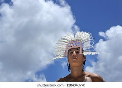 QUEENSLAND - JAN 11 2019:Portrait of Torres Strait Islander man. The Torres Strait islands located between the tip of Cape York in Queensland Australia and Papua New Guinea.
