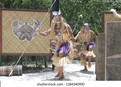 QUEENSLAND - JAN 11 2019:Torres Strait Islander men dancing traditional dance . The Torres Strait islands located between the tip of Cape York in Queensland Australia and Papua New Guinea.